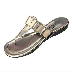Marc Fisher Valene Silver Faux Leather Sandals 6